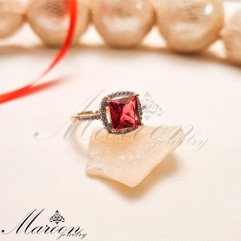انگشتر کریستال قرمز مارون CA05
