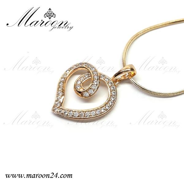 گردنبند قلب طلایی پر نگین مارون CN114