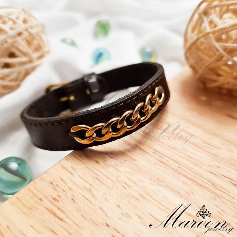 دستبند چرم طبیعی کارتیه مارون MM78