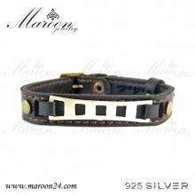 دستبند چرم و نقره مارون MMC02