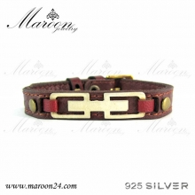 دستبند چرم و نقره مارون MMC03