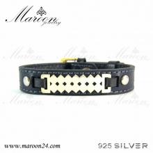 دستبند چرم و نقره مارون MMC04
