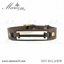 دستبند چرم و نقره مارون MMC05