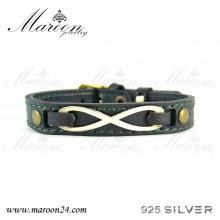 دستبند چرم و نقره مارون MMC06