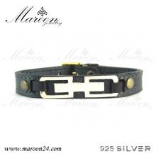 دستبند چرم و نقره مارون MMC07