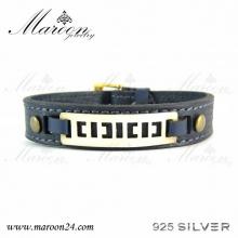 دستبند چرم و نقره مارون MMC08