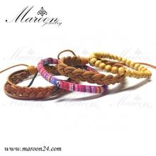 دستبند مردانه و پسرانه چهار عددی طرح گلیم و بافت مارون MMD58