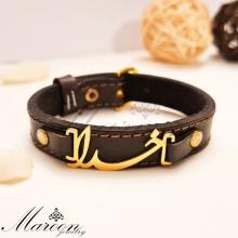 دستبند چرم طبیعی خدا مردانه و پسرانه مارون MM81