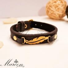 دستبند چرم طبیعی پر مارون MM88